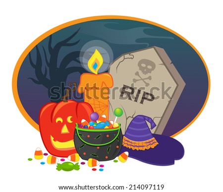 Halloween Icon - Halloween items in front of a spooky background. Eps10 - stock vector