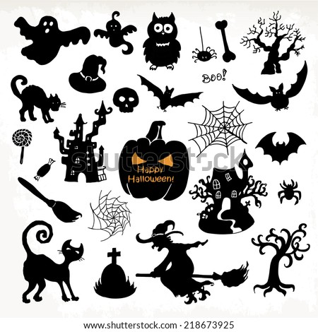 Halloween icon set. Hand draw vector illustration - stock vector