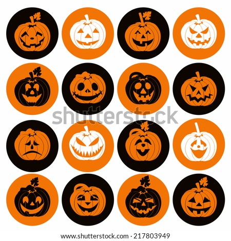 Halloween icon set of cheerful pumpkins. - stock vector