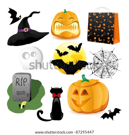 Halloween Icons A collection of nine fun Halloween icons. Grouped for easy editing. Vector illustration - stock vector