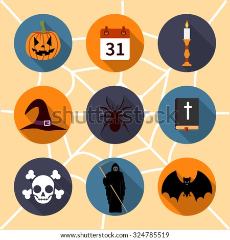 Halloween icons. collection icons symbols Halloween. isolated icons in a flat style with long shadow - stock vector