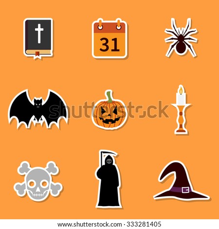 Halloween icons. collection icons symbols Halloween. Stickers - stock vector