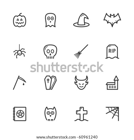 Halloween icons. Lines have not been expanded to maintain maximum editability. - stock vector