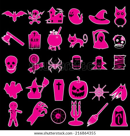 halloween icons pink style - stock vector