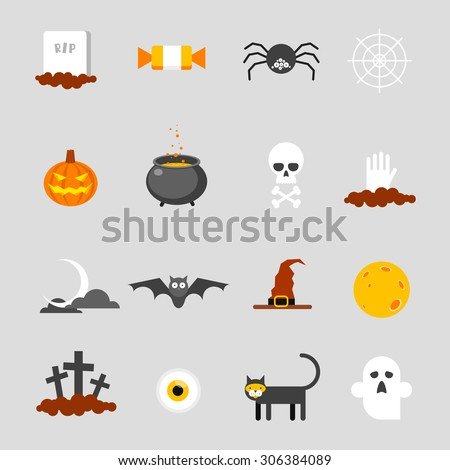 Halloween icons set. Flat design vector illustration. - stock vector