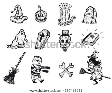 Halloween Icons Set/ Illustration of a set of doodle hand drawn halloween holidays pictures icons including jack o'lantern pumpkin, witch, skull and cross bones, ghost, tombstones and spooky elements - stock vector