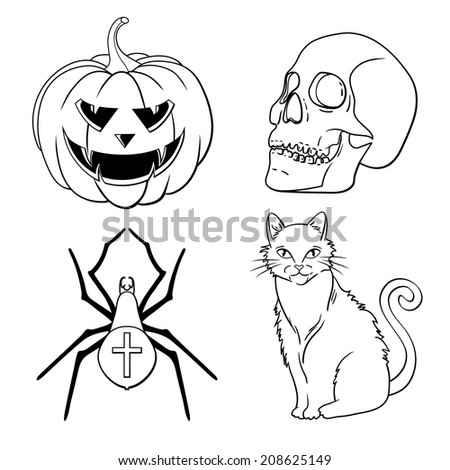 Halloween icons set: pumpkin, skull, spider, cat. Black and white - stock vector