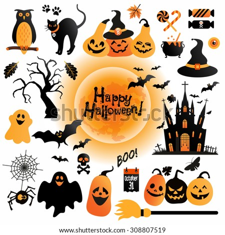 halloween icons set vector design elements for a holiday - Design Halloween
