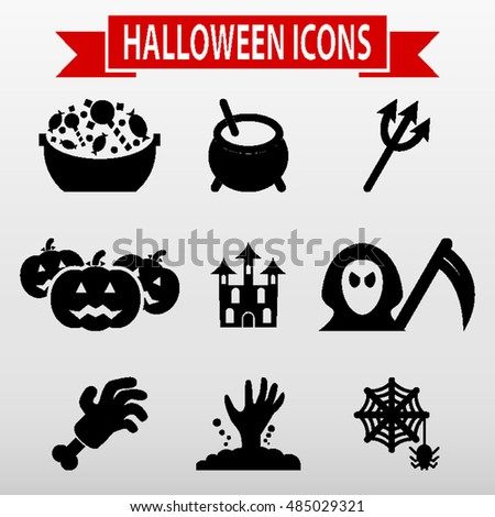 Halloween Icons Set Vector Illustration