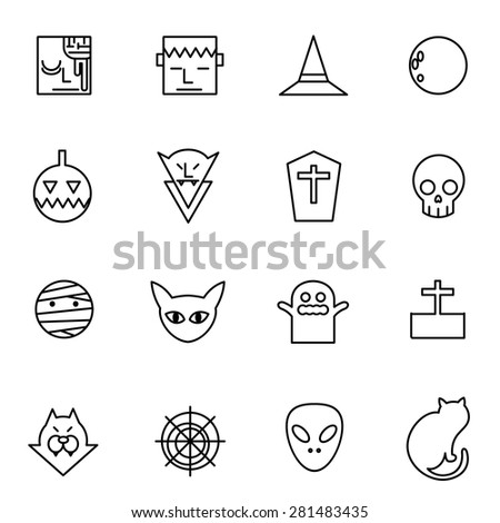 Halloween icons set vector illustration For Mobile, Web And Applications. Ghost, devil, pumpkin, devil.  - stock vector