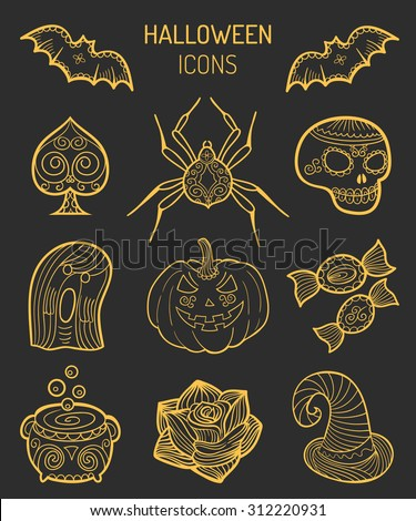 Halloween icons. Vector Halloween icons. Vector set of halloween icons. Halloween elements collection. - stock vector