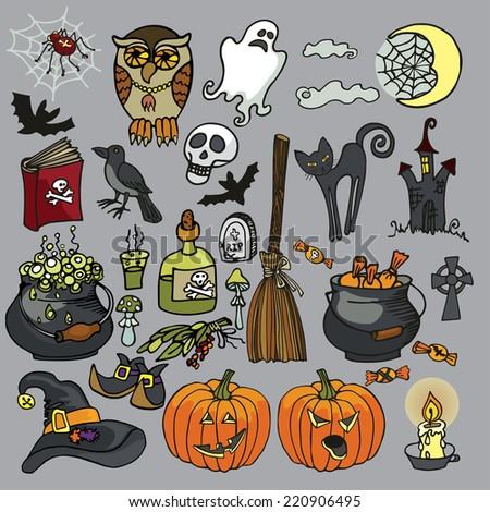Halloween icons,Witch spooky elements set.Halloween isolated items: boiler,candy,cat,pumpkin,bats,web,broom,Ghost,skull,book,spider, Raven,text. Cartoon vector illustration - stock vector