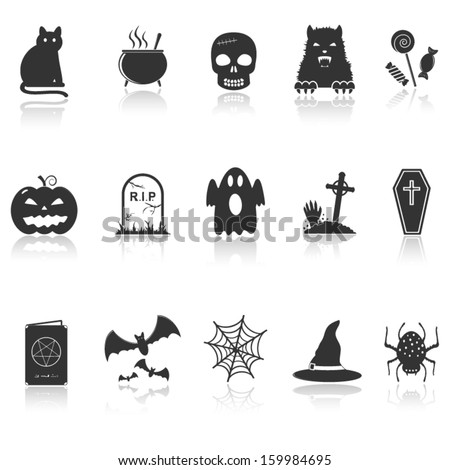 Halloween icons with reflection - stock vector