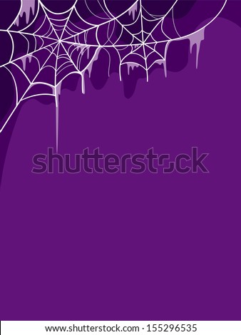 Halloween Illustration Featuring Cobwebs Placed Against a Purple Background - stock vector