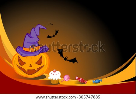 Halloween illustration for banners and invite cards - stock vector