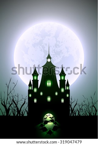 Halloween Illustration Full Moon and Haunted Castle - stock vector