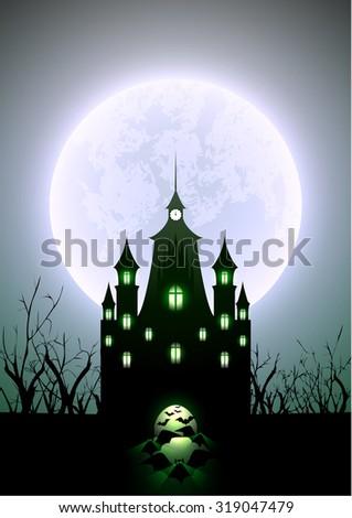 Halloween Illustration Full Moon and Haunted Castle - stock vector