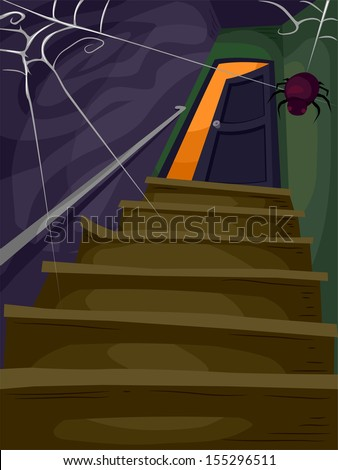 Halloween Illustration of a Flight of Stairs Filled with Cobwebs Leading to a Spooky Attic  - stock vector