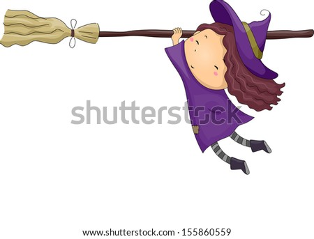 Halloween Illustration of a Little Girl Dressed as a Witch Clinging Onto a Broomstick - stock vector