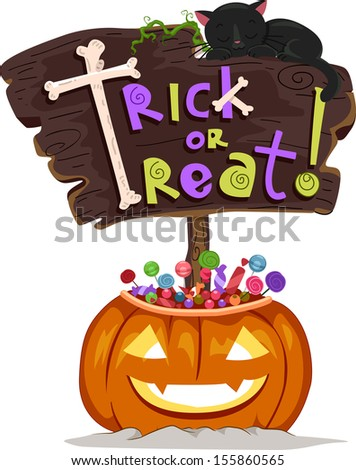 Halloween Illustration of a Signboard Saying Trick or Treat Sitting on a Jack-o'-Lantern Filled with Treats - stock vector