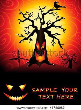 Halloween illustration of a spooky tree - stock vector