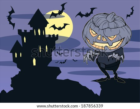 Halloween illustration of a vampire castle on the background of moon and flying bats