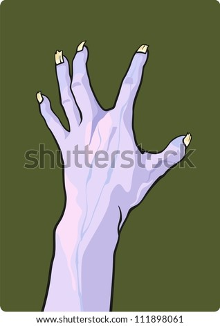 Halloween illustration of a zombie hand - stock vector