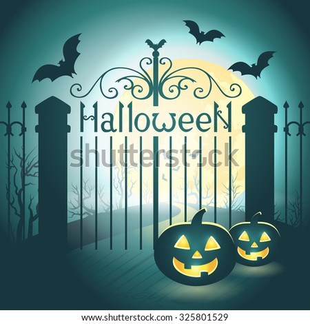Halloween illustration of mysterious night landscape with old gates, bats, full moon and pumpkins. Template for your design. Vector EPS 10 - stock vector