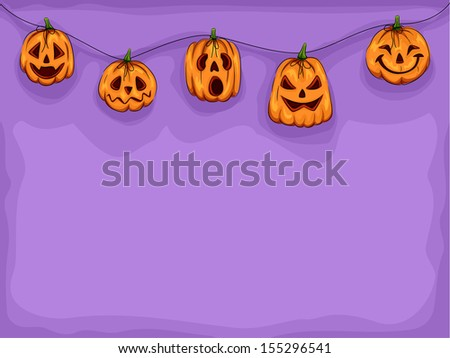 Halloween Illustration of Pumpkin Heads Wearing Different Expressions Connected by a String - stock vector