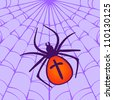 Halloween illustration: Spider hanging on his web - stock vector