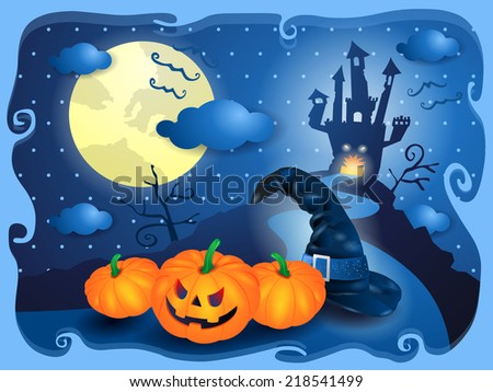 Halloween in blue, vector illustration eps 10 - stock vector