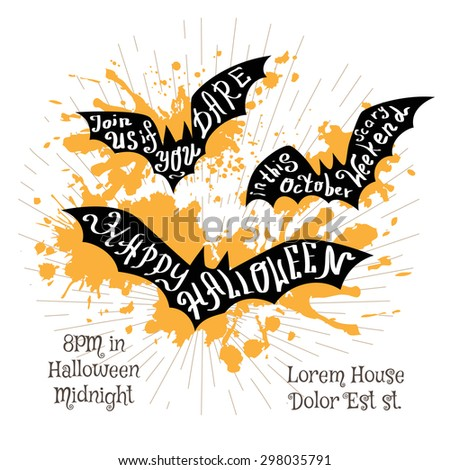 Halloween invitation banner with black shape of bats and calligraphic holiday wishes. Halloween retro hand lettering poster. - stock vector