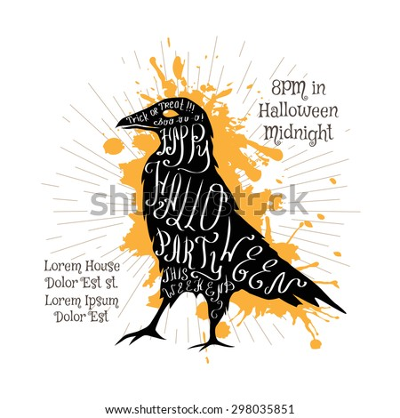 Halloween invitation banner with black shape of crow and calligraphic holiday wishes. Halloween retro hand lettering poster. - stock vector
