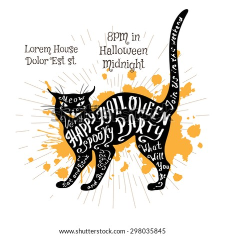 Halloween invitation banner with shape of cat and calligraphic holiday wishes. Halloween retro hand lettering poster. - stock vector