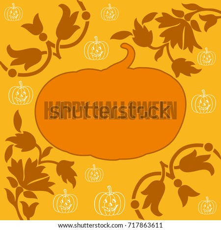 Halloween Invitation Card Decorated pumpkins and abstract flowers in shades of orange to celebrate halloween aesthetically.