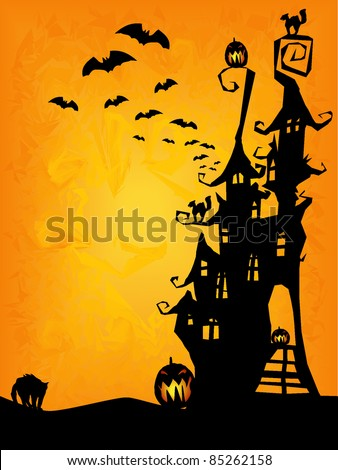 halloween invitation, flyer or background with spooky castle, cats and pumpkins