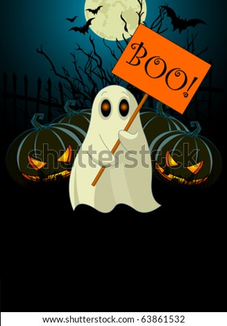 Halloween  invitation  of Very cute ghost with ?Boo? sign - stock vector
