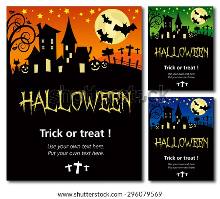 Halloween invitation poster or card illustration design, text outline, no drop shadow on the .eps - stock vector