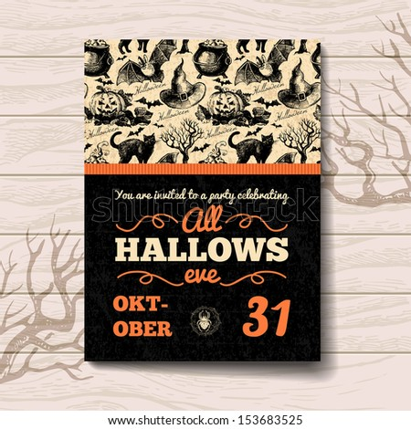 Halloween invitation. Vintage hand drawn illustration	 - stock vector