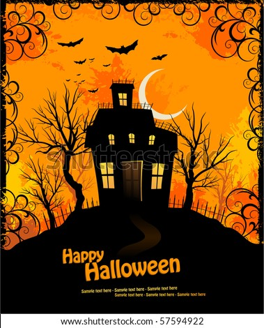 Halloween invitation with haunted house and creepy background - stock vector
