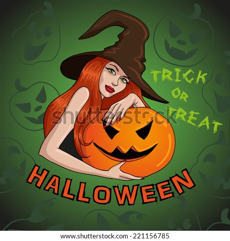 Halloween invitation with witch - stock vector