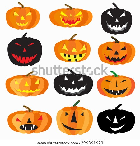 Halloween is a collection of 9 characters pumpkin on a white background vector illustration