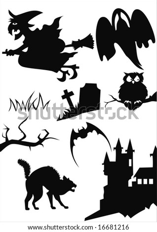 halloween items isolated on white - stock vector