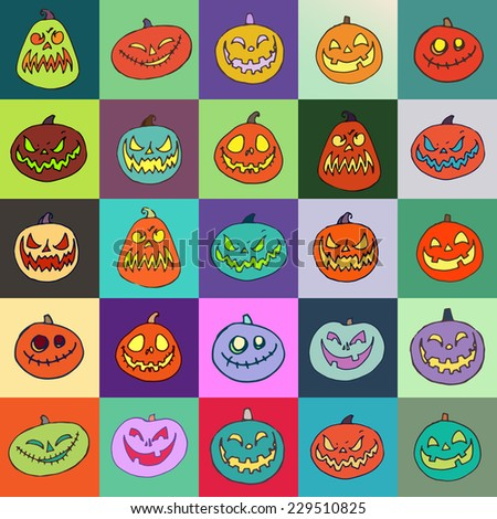 Halloween Jack-o-Lantern set. Pumpkins designs with different facial expressions. Vector illustration - stock vector