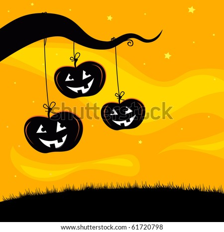 Halloween Jack O'Lantern Tree background. Pumpkin heads hanging from tree branch. Scary halloween background. - stock vector