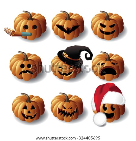 Halloween Jack O Lanterns. EPS 10 vector royalty free stock illustration for greeting card, ad, promotion, poster, flier, blog, article, social media, marketing - stock vector