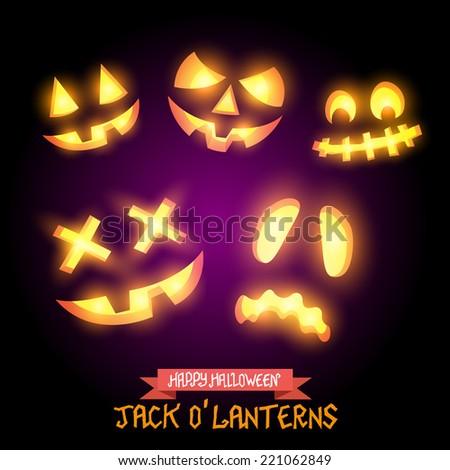Halloween Jack O Lanterns, various pumpkin halloween faces. Vector illustration. - stock vector