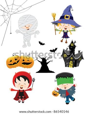 Halloween Kid Set - stock vector