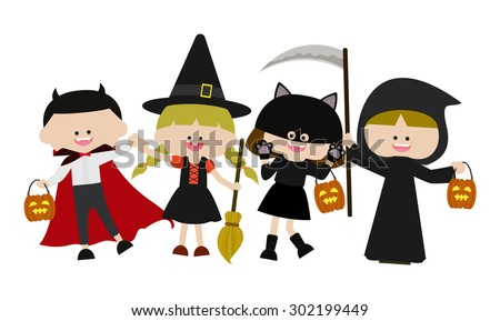 Halloween kids characters  - stock vector