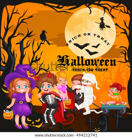 Halloween kids in costume for party set vector illustration.kids halloween boy playing mummy skeleton vampire, girl like pumpkin witch and fairy. Kids playing with sweets for halloween trick or treat